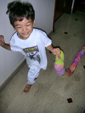 Zen running with snake