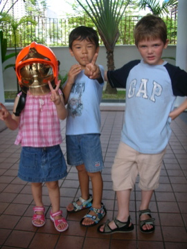 three with fire masks