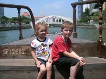 Evan and Lauren in bum boat