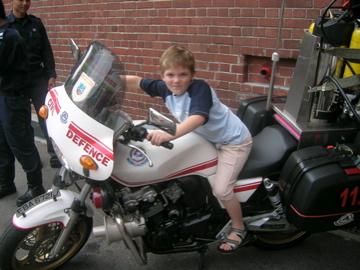 Evan on fire bike