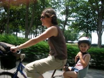 Nicole and Lauren on the bike
