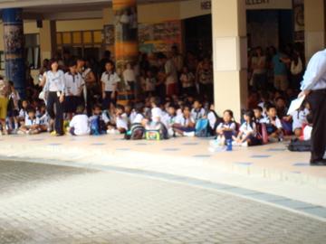 kids assembling before their first class