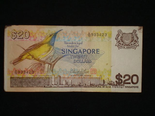Singapore S$20 bill with yellow-breasted sunbird
