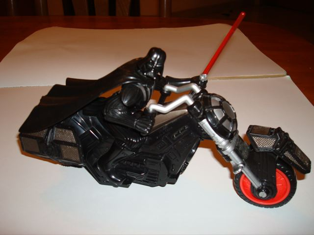 Darth Vader on a motorcycle