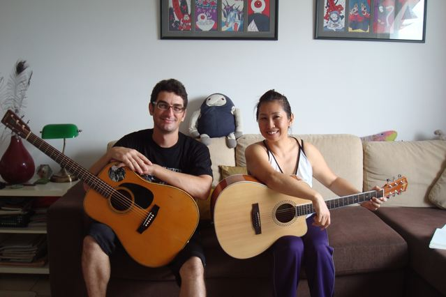 Naoko and Peter and their guitars