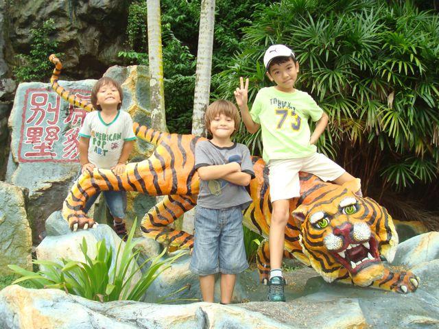 Three kids, one tiger
