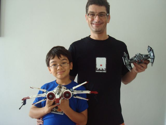 Peter and Zen with their new t-shirts and Star Wars Legos