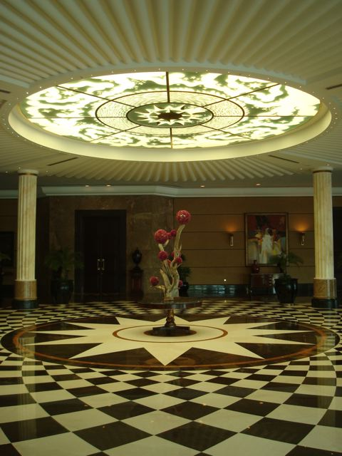 The lobby of the Ritz Carlton.  Nice ROC logo on the floor.