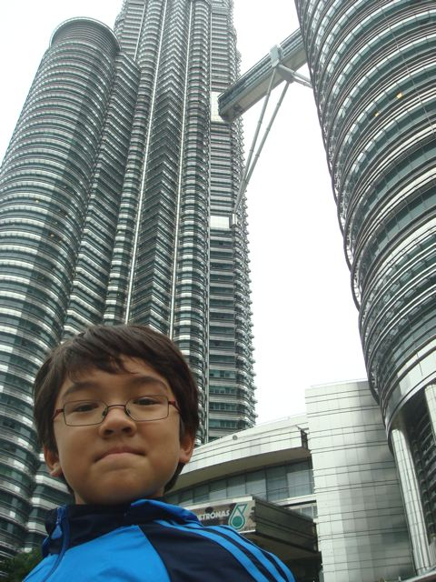 Zen in front of the Petronas Towers in KL.