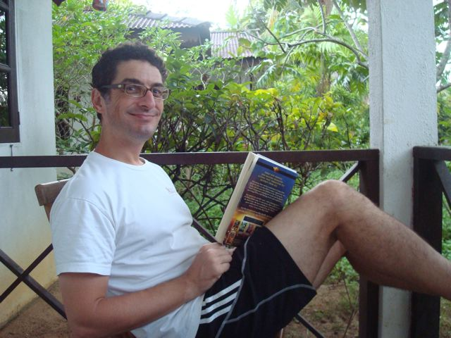 Peter reading Rick Riordan