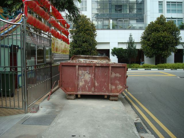 Pedestrian path blocked 4 - nice place to put a dumpster