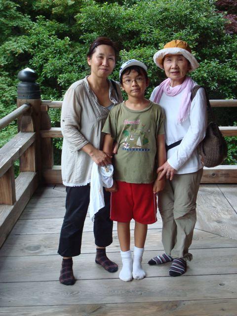 Naoko, Zen and Yaeko on Mt Shosha in Himeji