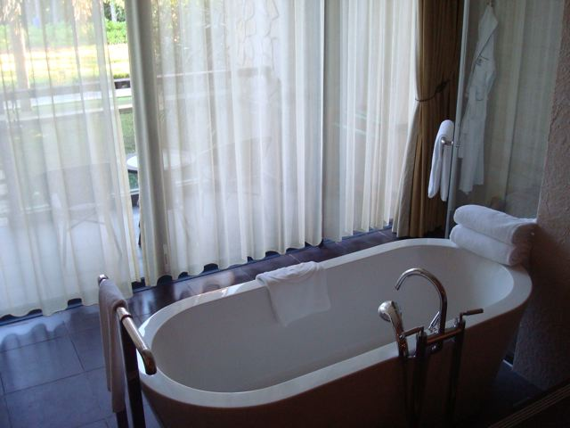 My room at the Sanli Hilton - bathtub with a view.