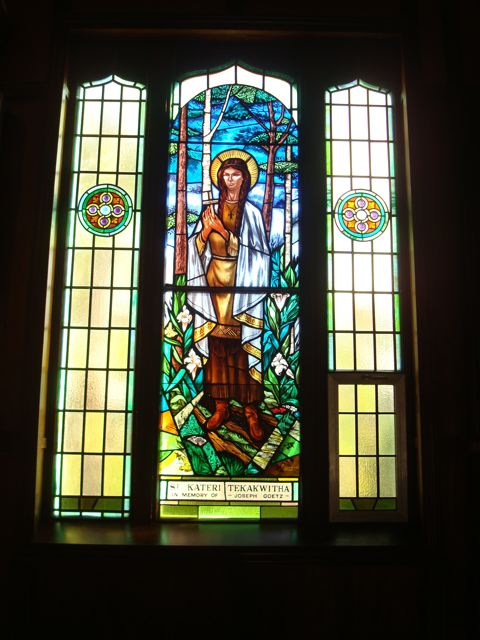 Stained glass of Kateri Tekakwitha at Midland's Martyrs' Shrine