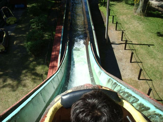 Zooming down the Centreville Log Flume ride on Toronto Island