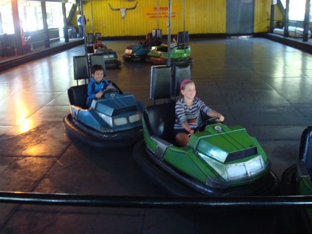 Zen having fun on the bumper car ride at Centreville on Toronto Island.