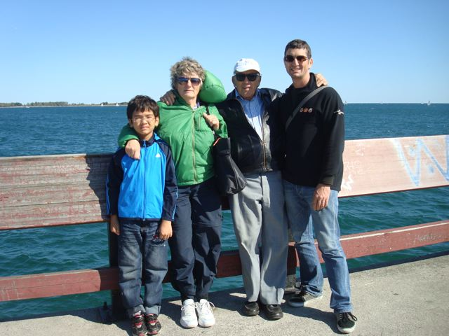On Toronto Island's Lake Ontario pier with Zen and Oma and Opa.