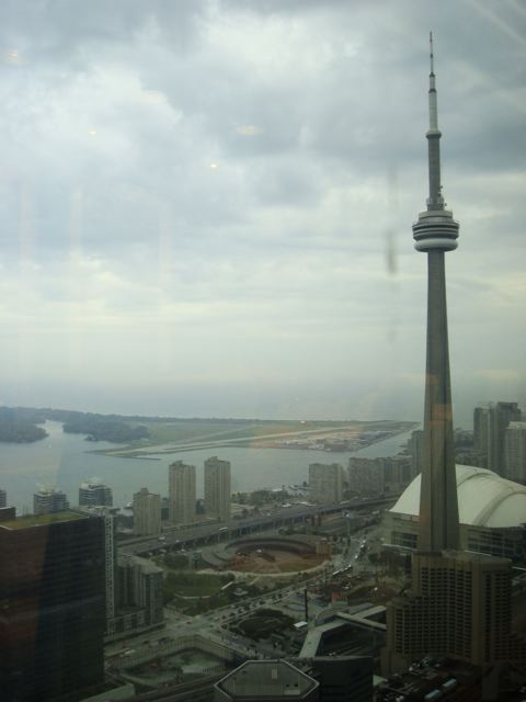 CN Tower and Toronto Island seen from the 45th floor of the TD Bank Tower, Canoe restaurant