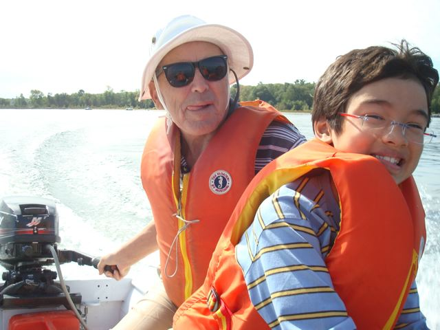 Zen and Opa going on a dinghy ride