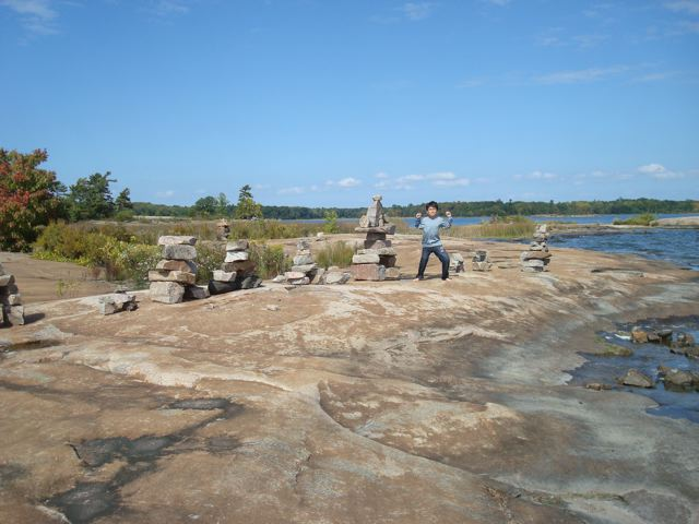 On the Canadian Shield with a group of Inuksuk