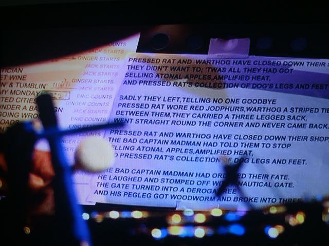 """Ginger Baker's lyrics sheet for """"Pressed Rat and Warthog"""", set list."""