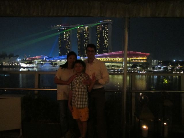 On the roof at the Fullerton Bay Hotel, Lantern restaurant
