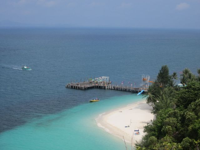 View of Rawa Resort's jetty from Bukit Rawa