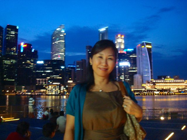 Naoko at Marina Bay Sands waterfront at sunset - lovely!