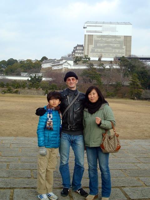 Peter, Naoko and Zen at Himeji castle