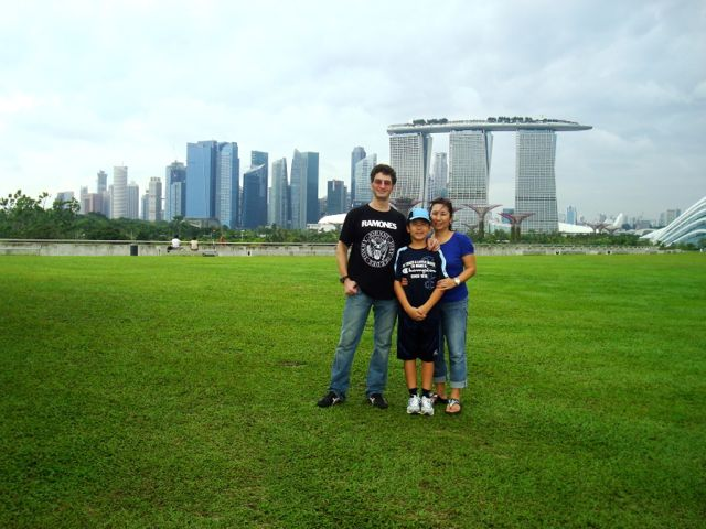 Hangin' out at the Marina Barrage, with the city in the background.