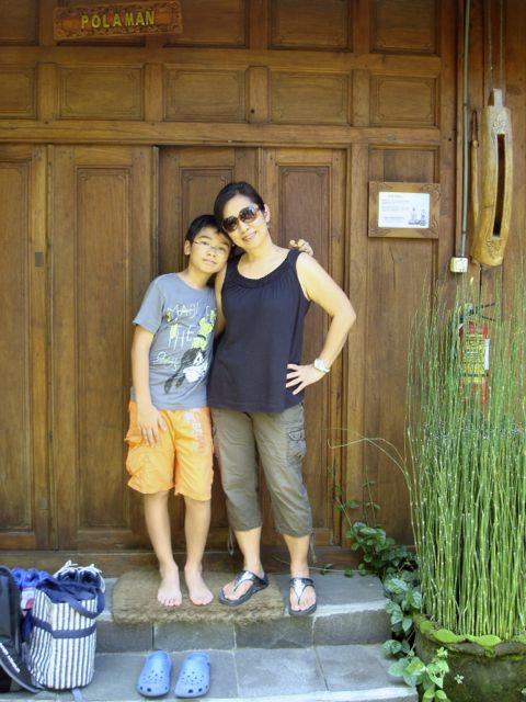 "Naoko and Zen in front of our cottage ""Polaman"" at Rumba Tembi. Great place!"