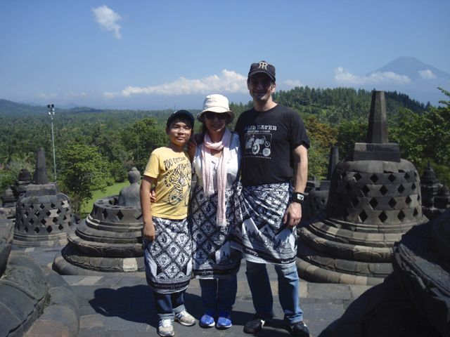 Peter, Naoko and Zen at the top of the Borobudur templePeter, Naoko and Zen at the top of the Borobudur temple