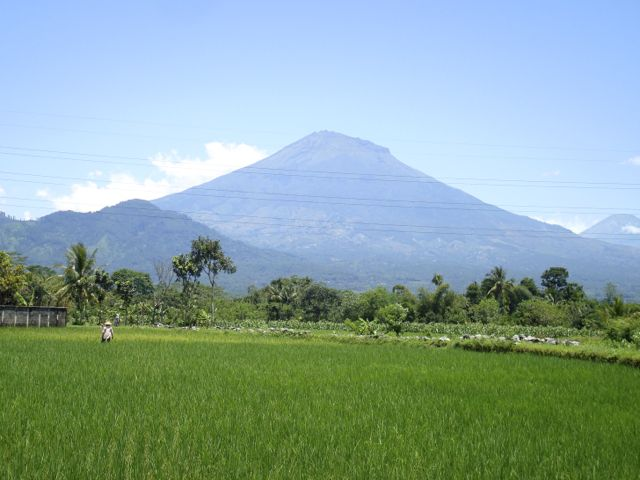 View of volcanic Merapi from the road to Dieng Plateau