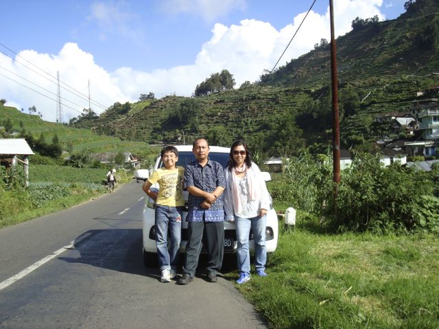 With our driver Pak Agus at Dieng Plateau. Finally, we arrived!!!