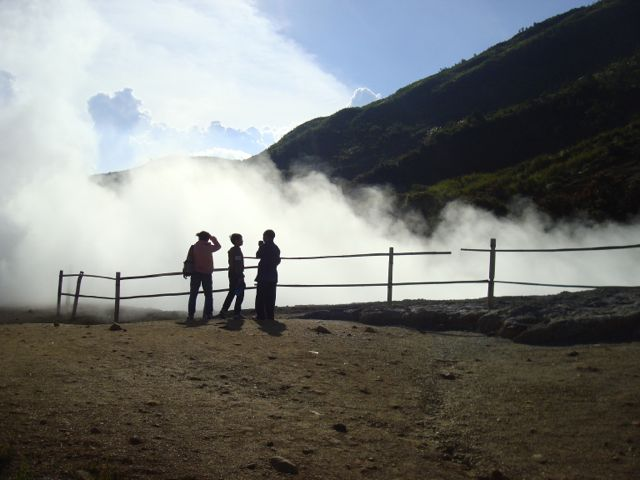 At the Dieng Plateau hot pits, with Pak Agus.