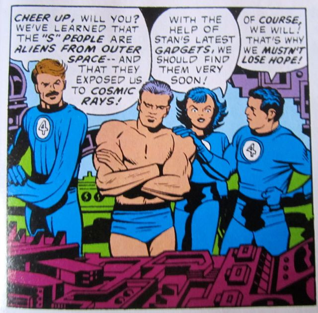 That's the artist Jack Kirby with the muscular chest
