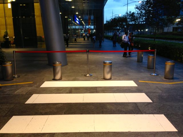 This is a zebra crossing, but we don't want any pedestrians to use it.