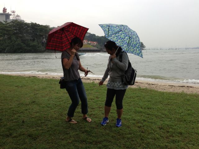 Naoko and Yuko at Changi Beach