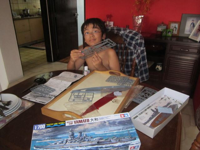 Zen building his new model ship - battleship Yamato