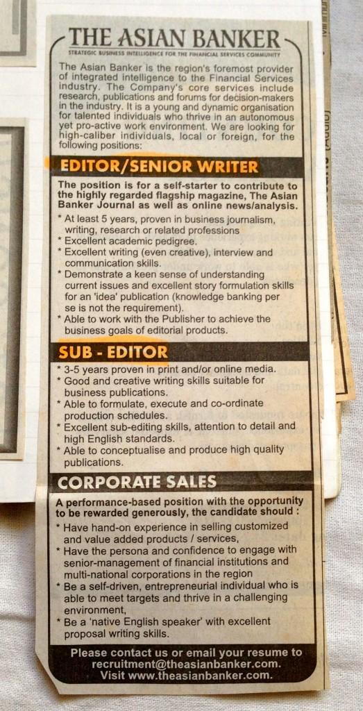 TAB job ad 2003