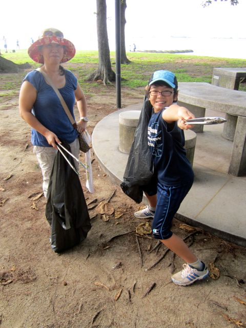 Picking up garbage on East Coast Park