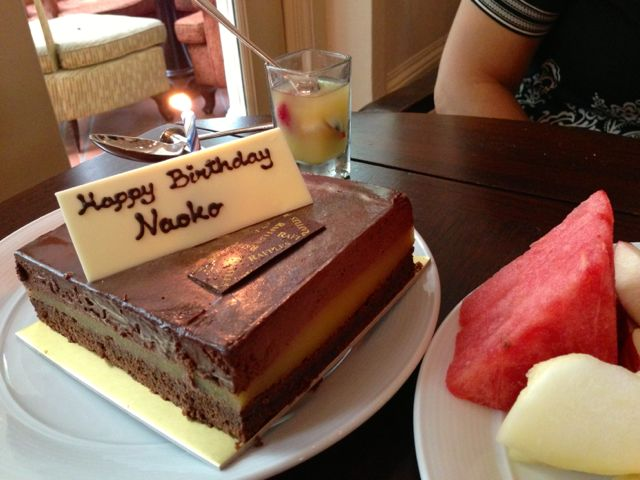 Naoko's birthday cake, courtesy of Raffles Hotel