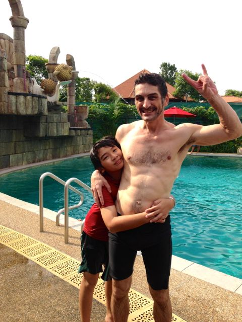 Peter and Zen at the adventure pool!