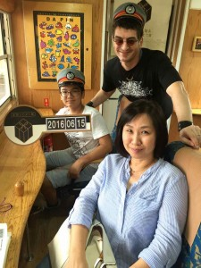 On a special tourist train to Ibusuki.